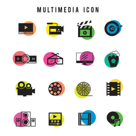 Multimedia Icon set. For web design and application interface, also useful for infographics. Vector illustration.