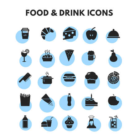 Food and Drink Icons Set. For web design and application interface, also useful for infographics. Vector illustration.