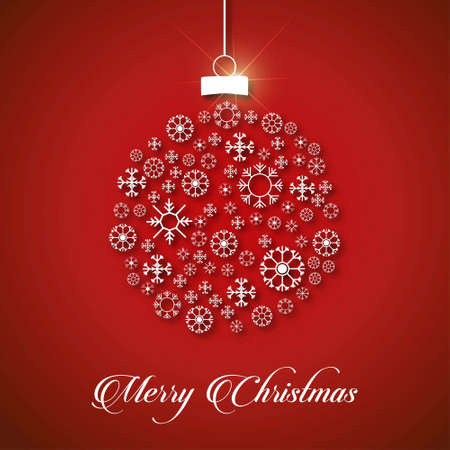 Christmas card with snow flakes balls and typographic. For web design and application interface, also useful for infographics. Vector illustration.