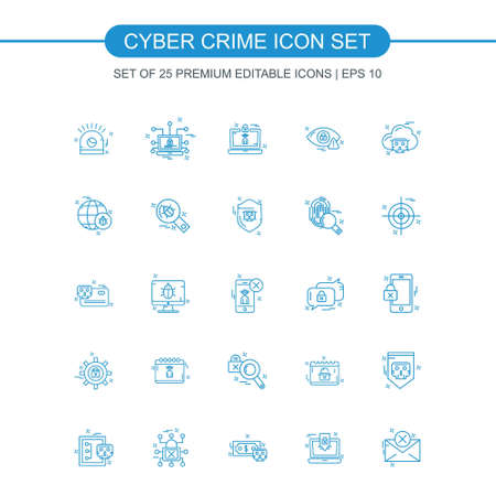 Cyber crime icons set vector. For web design and application interface, also useful for infographics. Vector illustration. Illustration