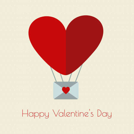 Happy Valentine's day typographic and heart baloon. For web design and application interface, also useful for infographics. Vector illustration.