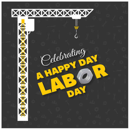 Happy Labor Day Typography Hanging with Construction Crane on a Black Background. For web design and application interface, also useful for infographics. Vector illustration.