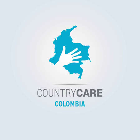 Illustration of an isolated hands offering sign with the map of Colombia. For web design and application interface, also useful for infographics. Vector illustration.