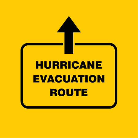 Hurricane Evacuation Route Sign Board, Hurricane indication. Graphic banner of hurricane warning. Icon, sign, symbol, indication of the hurricane, vortex, tornado. For web design and application interface, also useful for infographics. Vector illustration. Illustration