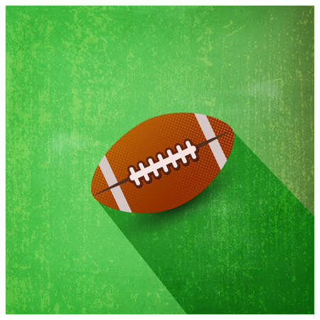 American football ball isolated on green textured vector illustration. For web design and application interface, also useful for infographics. Vector illustration. Illustration