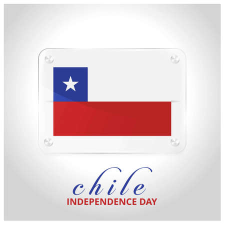 Chile Flag Door Plate with independence day lettering. For web design and application interface, also useful for infographics. Vector illustration. Illusztráció