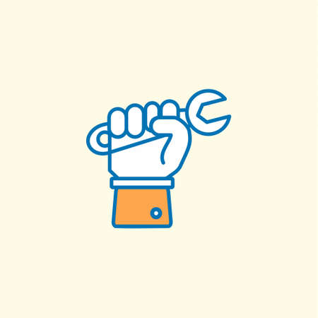 Labour day icon with light background with orange theme icon. For web design and application interface, also useful for infographics. Vector illustration.