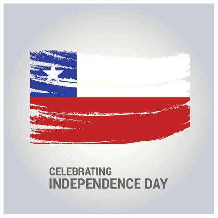Chile Brush Stroke Country Flag with Independence Day lettering. For web design and application interface, also useful for infographics. Vector illustration.