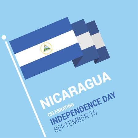 Agitant le drapeau du Nicaragua 3D Joyeux Jour de l'Indépendance. Pour la conception Web et l'interface d'application, également utile pour les infographies. Illustration vectorielle.