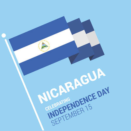 Waving 3d Nicaragua Flag Happy Independence Day. For web design and application interface, also useful for infographics. Vector illustration. Иллюстрация