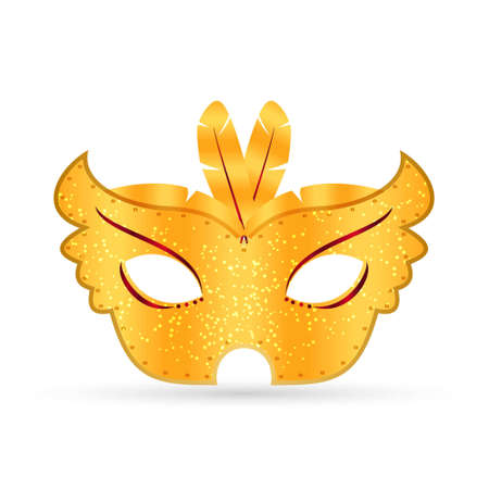 golden gradient elegant carnival mask and feathers on white background. For web design and application interface, also useful for infographics. Vector illustration. Illustration