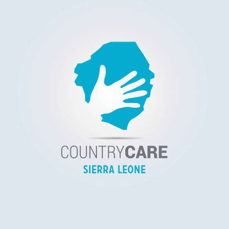 Illustration of an isolated hands offering sign with the map of Sierra Leone. For web design and application interface, also useful for infographics. Vector illustration.