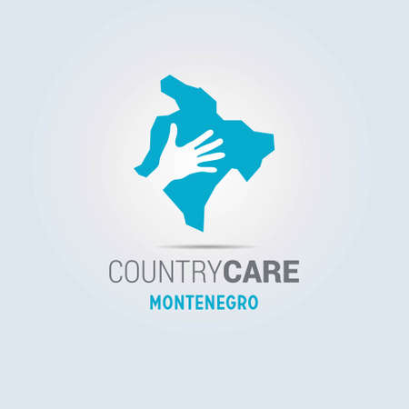 Illustration of an isolated hands offering sign with the map of Montenegro. For web design and application interface, also useful for infographics. Vector illustration.