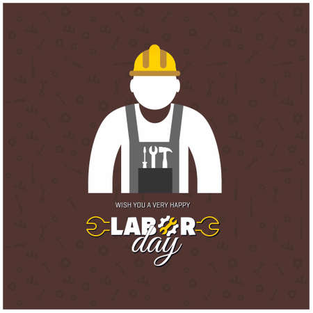 Happy Labor Day Beautiful Typography with Worker on a brown Background. For web design and application interface, also useful for infographics. Vector illustration. Illustration