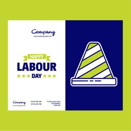 Happy Labour day design with green and blue theme vector with labours tool logo vector. For web design and application interface, also useful for infographics. Vector illustration. Illustration