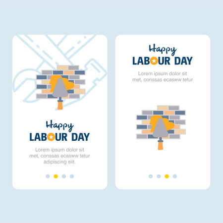 Happy Labour day design with yellow and blue theme vector with constructions tool logo vector. For web design and application interface, also useful for infographics. Vector illustration.