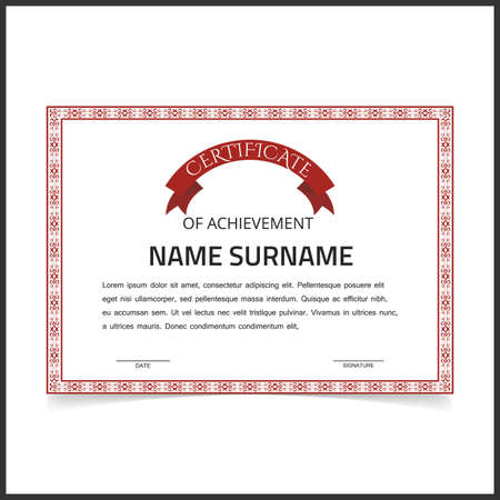 Vector certificate template with red designe borders on white card.. For web design and application interface, also useful for infographics. Vector illustration. Vettoriali