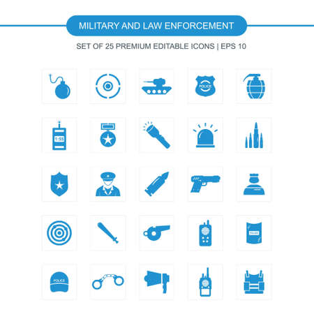 Military and Law enforcement icons set vector. For web design and application interface, also useful for infographics. Vector illustration.
