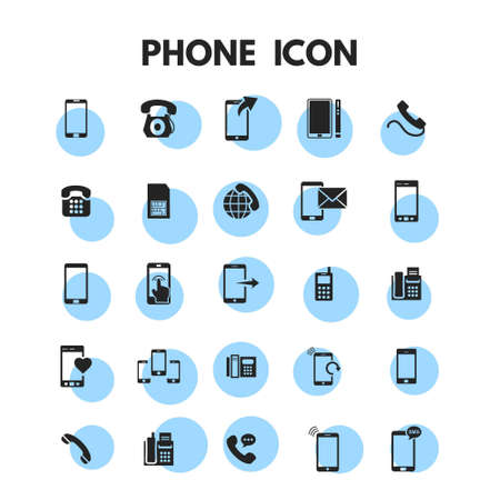 Phone Icons Set. For web design and application interface, also useful for infographics. Vector illustration.