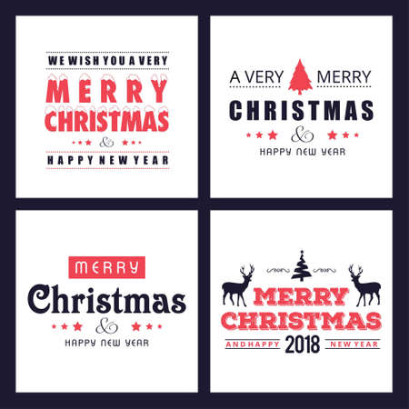 Christmas card with simple typographic vector. For web design and application interface, also useful for infographics. Vector illustration.