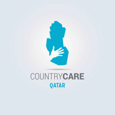 Illustration of an isolated hands offering sign with the map of Qatar. For web design and application interface, also useful for infographics. Vector illustration.