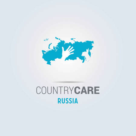Illustration of an isolated hands offering sign with the map of Russia. For web design and application interface, also useful for infographics. Vector illustration.