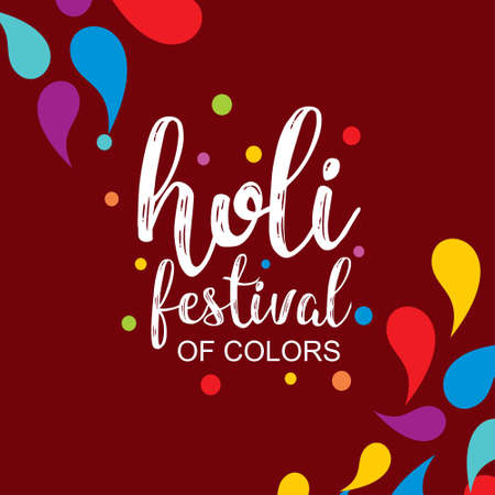 happy holi festival. holi color drops with creative typography on red background. For web design and application interface, also useful for infographics. Vector illustration.