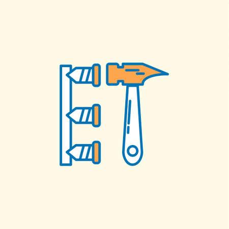 Arbeitstagikone mit hellem Hintergrund mit orangeem Themensymbol. Für Webdesign und Anwendungsoberfläche, auch nützlich für Infografiken. Vektorillustration.