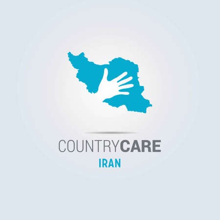 Illustration of an isolated hands offering sign with the map of Iran. For web design and application interface, also useful for infographics. Vector illustration.