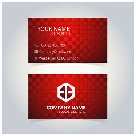 Abstract Red Block Business Card template. For web design and application interface, also useful for infographics. Vector illustration. Standard-Bild - 104947803
