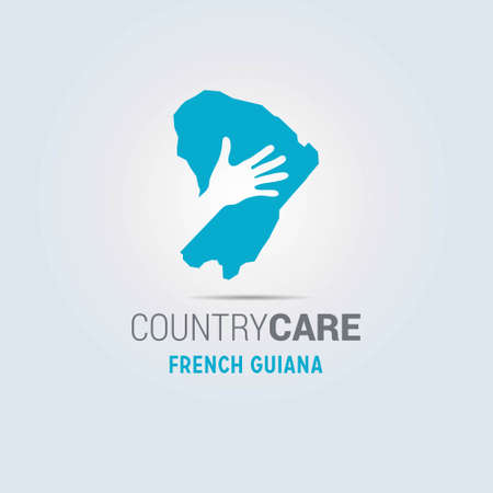 Illustration of an isolated hands offering sign with the map of French Guiana. For web design and application interface, also useful for infographics. Vector illustration.