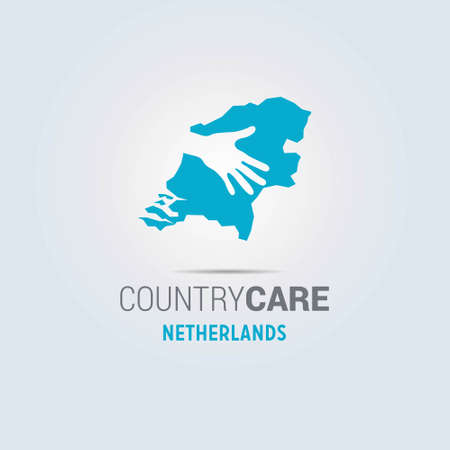 Illustration of an isolated hands offering sign with the map of Netherlands. For web design and application interface, also useful for infographics. Vector illustration.