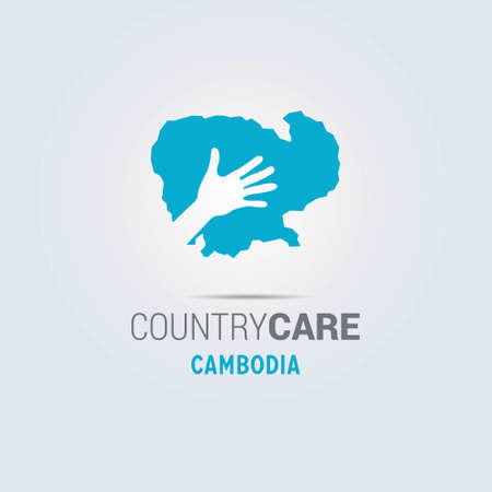 Illustration of an isolated hands offering sign with the map of Combodia. For web design and application interface, also useful for infographics. Vector illustration. Çizim