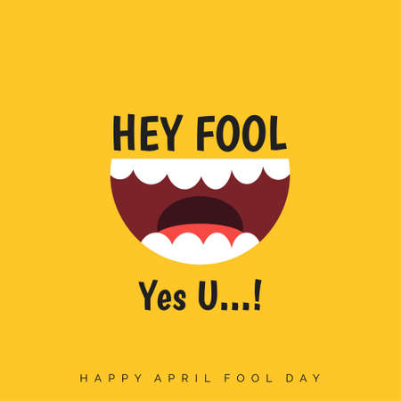 April Fools Day lettering typography on yellow background for greeting card, ad, promotion, poster, article, marketing, signage, email. Vector illustration.. For web design and application interface, also useful for infographics. Vector illustration. Ilustrace
