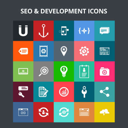 SEO and Development Icons. For web design and application interface, also useful for infographics. Vector illustration.