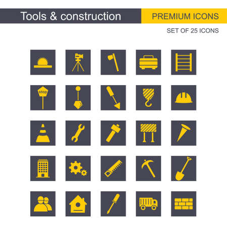 Tools and Constructions icons set vector. For web design and application interface, also useful for infographics. Vector illustration.