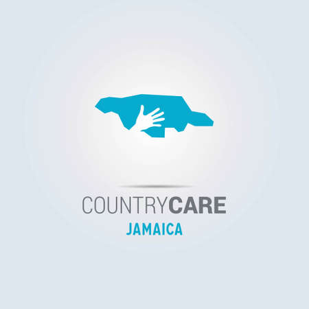 Illustration of an isolated hands offering sign with the map of Jamaica. For web design and application interface, also useful for infographics. Vector illustration.