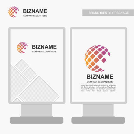 Company banner design with world map logo and company slogan vector. For web design and application interface, also useful for infographics. Vector illustration.