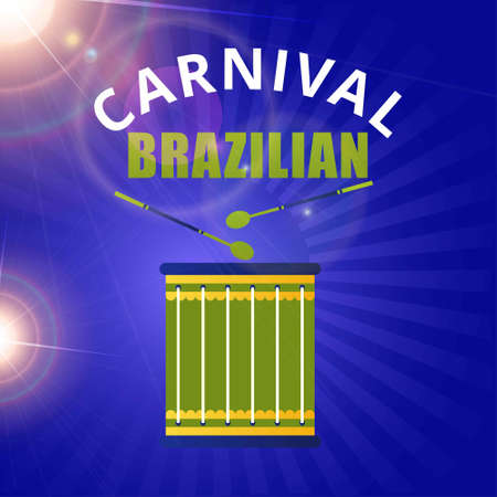 Happy Brazilian Carnival Day. green drum and white and greey typography on blue abstract background. For web design and application interface, also useful for infographics. Vector illustration. Illustration