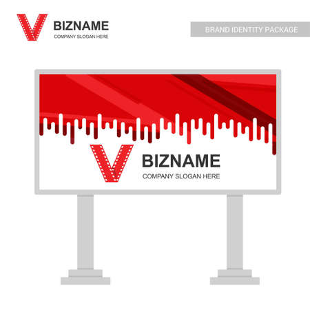 Company bill board ads design vector with video logo. For web design and application interface, also useful for infographics. Vector illustration.