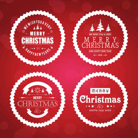 Chirstmas card set with red background. For web design and application interface, also useful for infographics. Vector illustration. Illustration