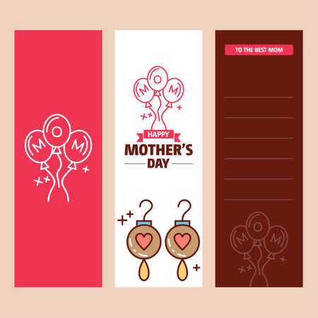 Mother's day card with earings logo and pink theme vector. For web design and application interface, also useful for infographics. Vector illustration.