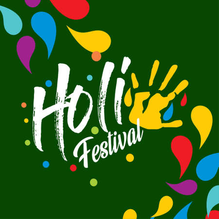 happy holi festival. holi color drops with creative typography on green background. For web design and application interface, also useful for infographics. Vector illustration. Illustration