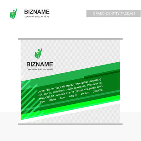Company advertisment banner with green theme with nature logo. For web design and application interface, also useful for infographics. Vector illustration.