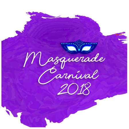 handwritten masquerade carnival 2018 white typography on purple water color background. For web design and application interface, also useful for infographics. Vector illustration. Illustration