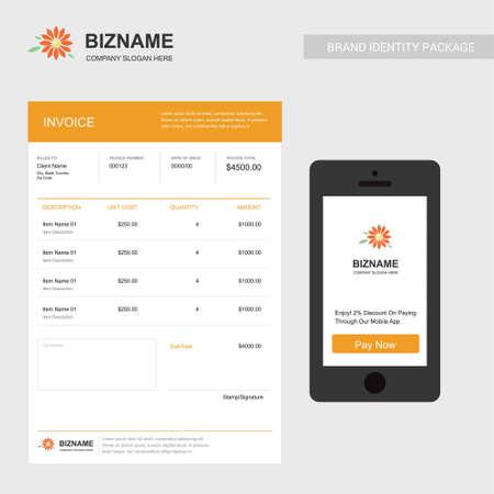 Firmenrechnung mit Mobile App Design auch mit Blumenlogo. Für Webdesign und Anwendungsoberfläche, auch nützlich für Infografiken. Vektorillustration.