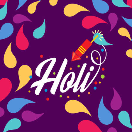 happy holi festival. holi color drops with creative typography on purple background. For web design and application interface, also useful for infographics. Vector illustration.