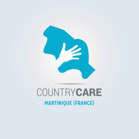 Illustration of an isolated hands offering sign with the map of Martinique (France). For web design and application interface, also useful for infographics. Vector illustration.