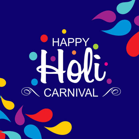 happy holi festival. holi color drops with creative typography on blue background. For web design and application interface, also useful for infographics. Vector illustration. Illustration