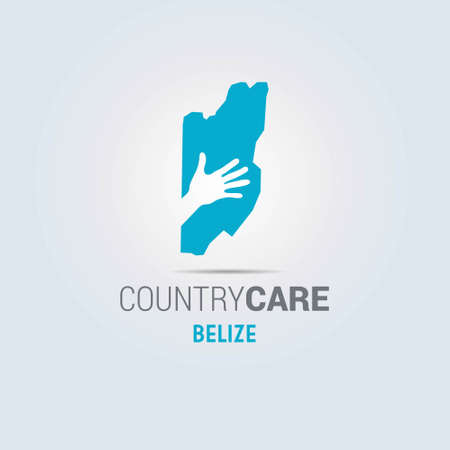 Illustration of an isolated hands offering sign with the map of Belize. For web design and application interface, also useful for infographics. Vector illustration.